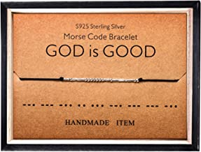 Morse Code Bracelet 925 Sterling Silver Beads on Silk Cord Secret Message GOD is GOOD bracelet Gift Jewelry for her