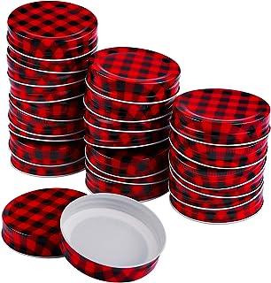 Ruisita 24 Pack Mason Jar Lids Regular Mouth Metal Tin Mason Lids Solid Storage Caps for Canning Jars DIY Christmas Mason ...
