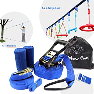 Rainbow Craft Ninjaline Slackline for Obstacle Course Set, with Removable Loops for Kids Backyard Outdoor Play - Non-Printing Ninja Line Type