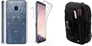 Tri Max Samsung Galaxy S9 Case Bundle with Ultra Slim Full Body Cover Case with Screen Protector (Tribal Elephant) with Tactical EDC MOLLE Utility Bag Pouch, Atom Cloth for Galaxy S9