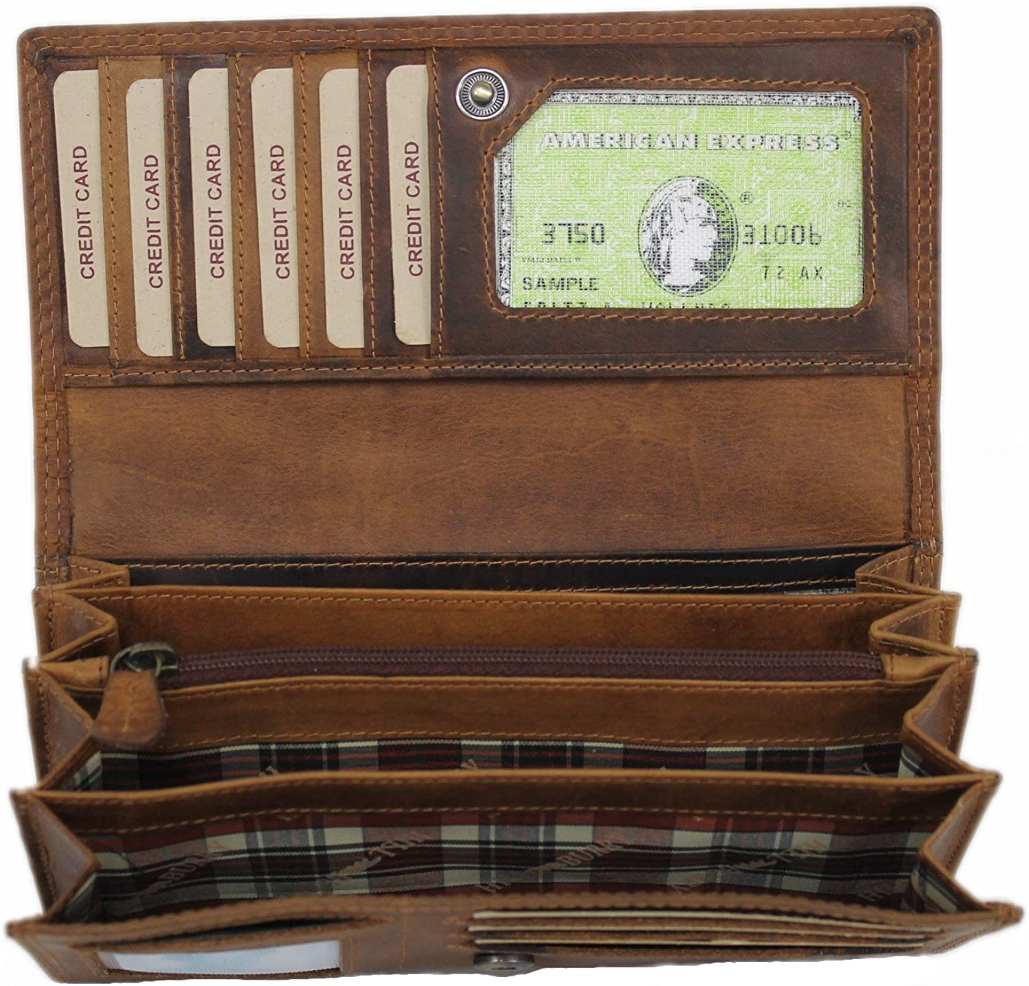 Genuine Leather Women Wallet  Vintage Cowhide Clutch Checkbook Card Holder Organizer  Large Capacity by Hill Burry Eloy