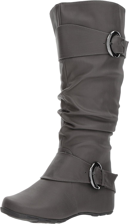 Brinley Co Women's Augusta-02 Slouch Boot, Grey, 6 M US