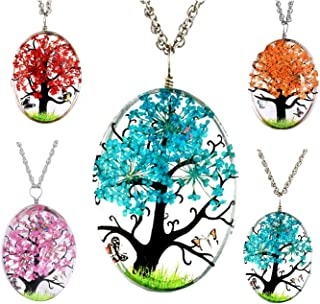 Ginger Lyne Collection Dried Flower Tree Butterfly Glass Pendant Necklace