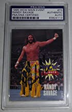 Macho Man Randy Savage Signed 1995 WCW Main Event Card #73 COA WWE Auto - PSA/DNA Certified - Autographed Wrestling Cards