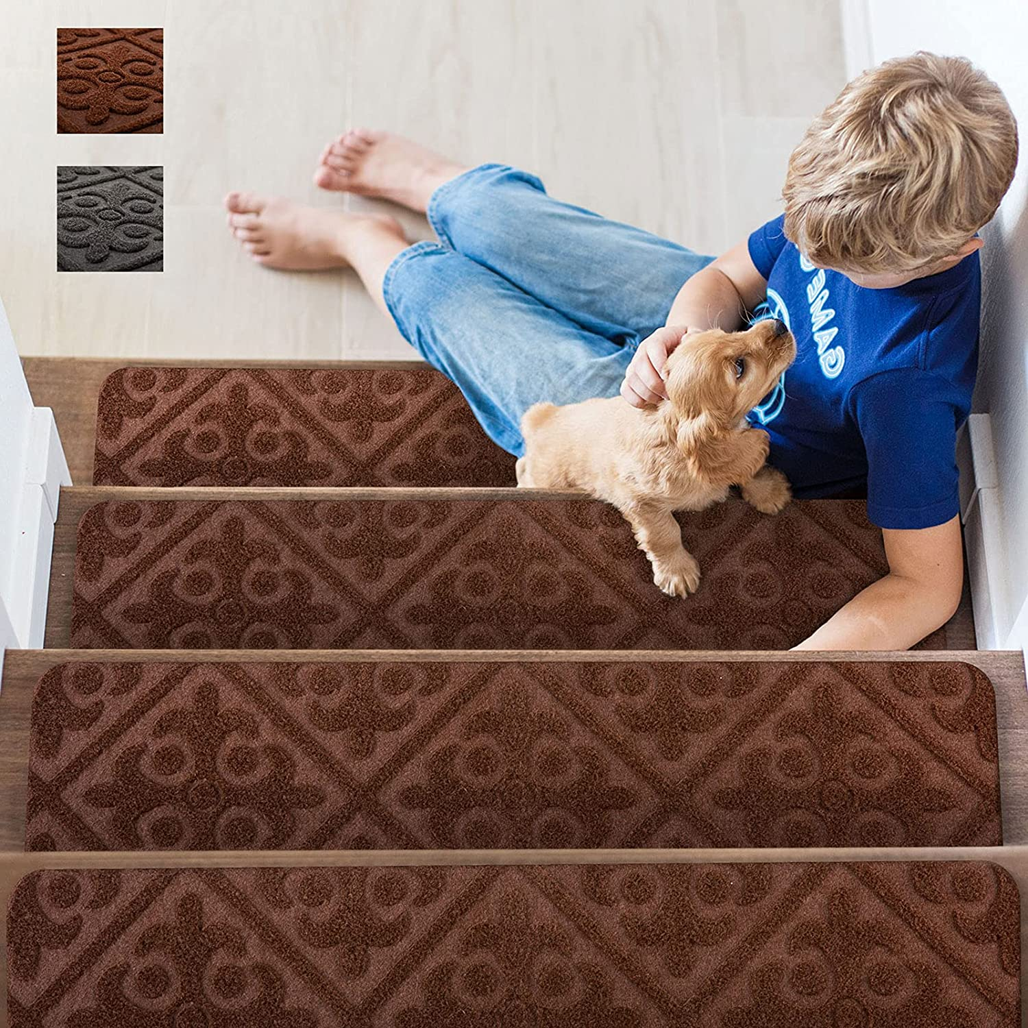Upgraded free shipping Homluck Stair Treads Carpet Self-Adhe Slip Non Indoor Some reservation