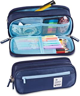 Large Capacity Pencil Pen Case, Durable Pencil Bag Stationery Double Zipper Pouch Organizer Bag with Three Compartments Po...