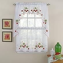 ستائر نافذة من Lorraine Home Fashions Strawberry، مقاس 147.32 سم × 91.44 سم، أحمر