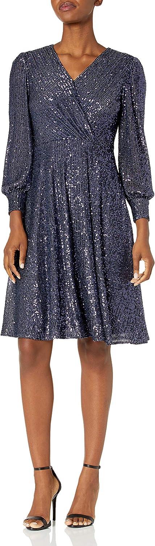 Tahari ASL Women's Long Sleeve Stretch Sequin Surplus Wrap Dress