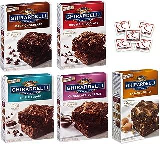 Ghirardelli Premium Chocolate Brownie Mix Variety - Bundle of 5 Flavors - Triple Fudge, Caramel Turtle, Double Chocolate, Chocolate Supreme, Dark Chocolate Gift Box