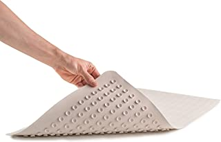 "Epica Anti-Slip Machine Washable Anti-Bacterial Bath Mat 16"" x 28"" Natural Rubber"