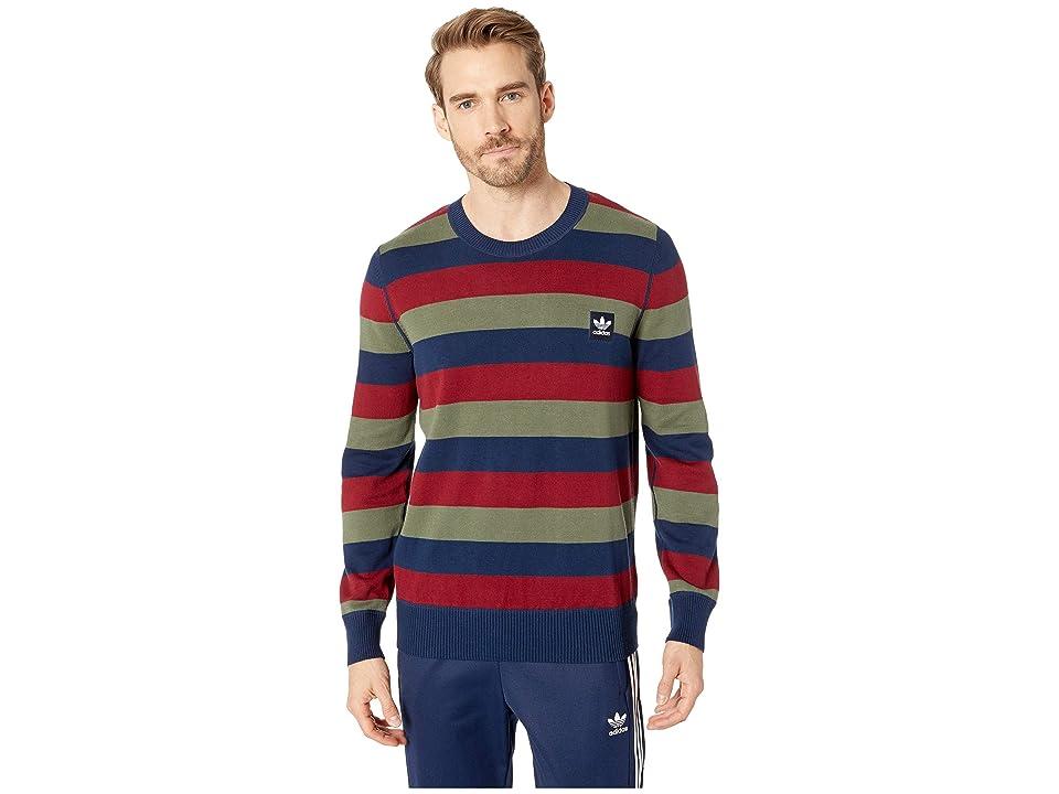 adidas Skateboarding Striped Sweater (Collegiate Navy/Collegiate Burgundy/Base Green) Men