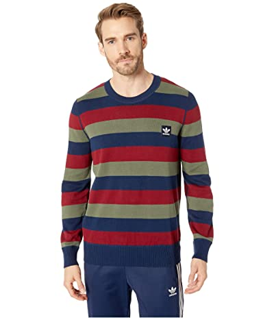 adidas Skateboarding Striped Sweater (Collegiate Navy/Collegiate Burgundy/Base Green) Men