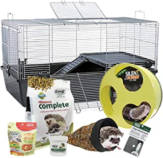 Exotic Nutrition Hedgehog Home & Starter Package - Includes Durable Cage, Exercise Wheel, Healthy Food, Natural Treat, Multi-Vitamin & Nest Pouch