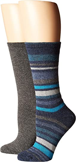 Flat Knit Striped Boot Socks 2-Pair Pack