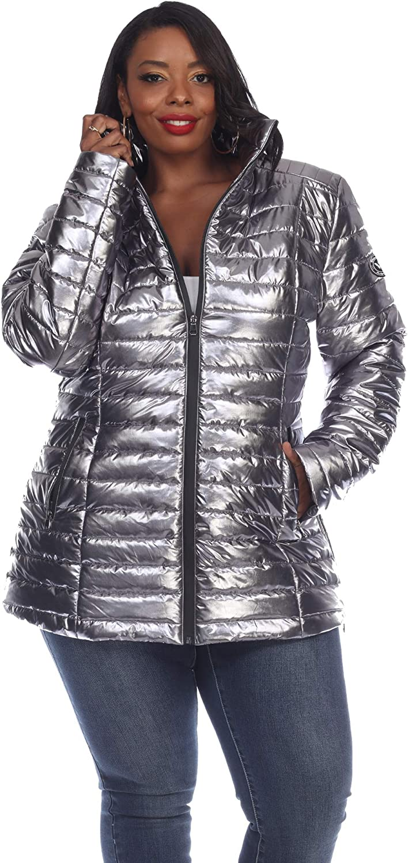 Plus Size Metallic Puffer Coat