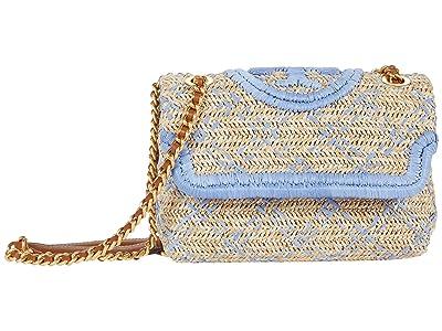 Tory Burch Fleming Soft Straw Small Convertible Shoulder Bag (Natural/Bluewood) Handbags