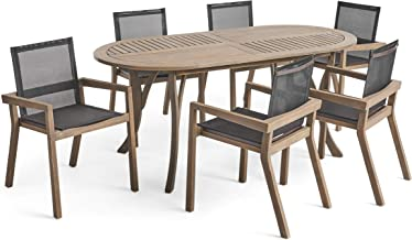 Great Deal Furniture Pitts Outdoor Acacia Wood 6 Seater Patio Dining Set with Mesh Seats, Gray and Black