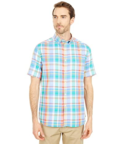 Southern Tide Double Faces Plaid Chambray Short Sleeve Sport Shirt (Ocean Channel) Men