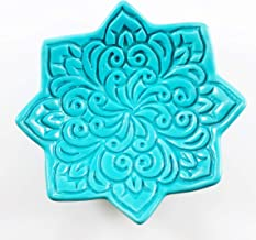 Turquoise Star Ring Dish - Handmade Jewelry Holder with Vintage Floral Pattern