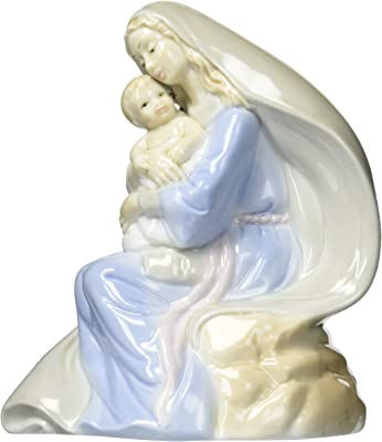 Cosmos 1261 Fine Porcelain Lighted Madonna with Baby Figurine, 7-Inch
