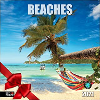 """Beaches - 2021 Wall Calendars by Red Ember Press - 12"""" x 24"""" When Open - Thick & Sturdy Paper - Kick Back and Relax"""