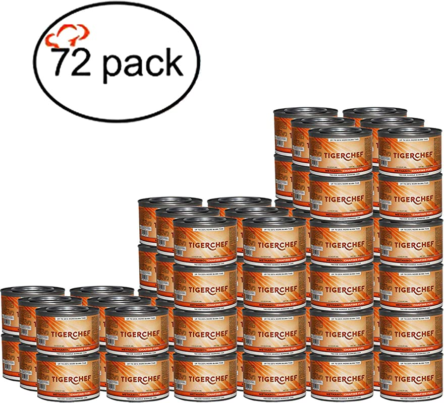 TigerChef TC 20480 Methanol Chafing Fuel Gel Cans Burns 2 5 Hours 7 Oz Capacity Pack Of 72