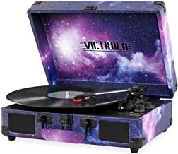Victrola Record Player Vintage 3-Speed Bluetooth Suitcase Turntable with Speakers, Galaxy