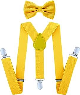 mustard yellow bow tie and suspender set child baby boy girl adjustable wedding
