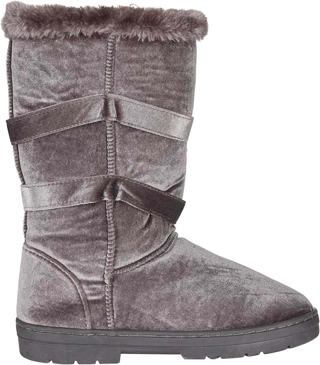 Chatties Women's 10  Velvet Winter Boots Fur Trimming Bow Accents Casual Mid-Calf