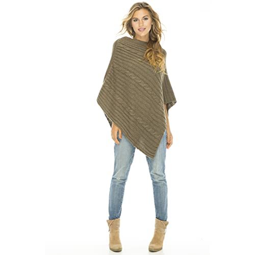 0d70871e6c Back From Bali Womens Cable Knit Poncho Sweater Cape Boho Soft Casual