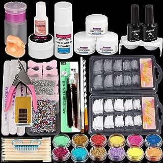 WuBeFine Acrylic Nail Kit, with Acrylic Powder Liquid Monomer Glitter Nail Tips, Acrylic..