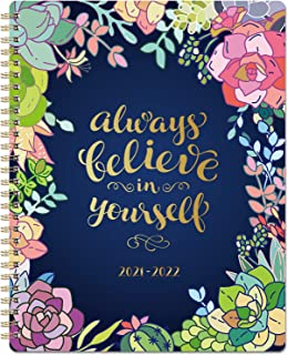 """2021-2022 Planner - Weekly & Monthly Planner 8"""" x 10"""" 2021 July - 2022 June with Flexible Hardcover, Strong Twin- Wire Bin..."""