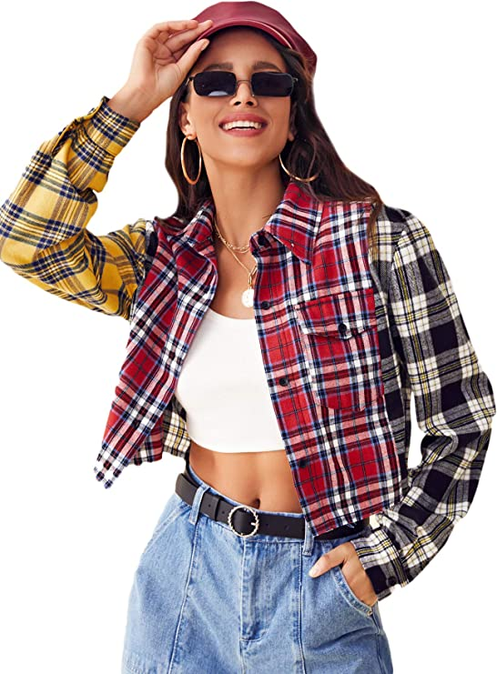 80s Tops, Shirts, T-shirts, Blouse   90s T-shirts SweatyRocks Womens Cute Color Block Long Sleeve Crop Tops Plaid Button Down Blouse  AT vintagedancer.com