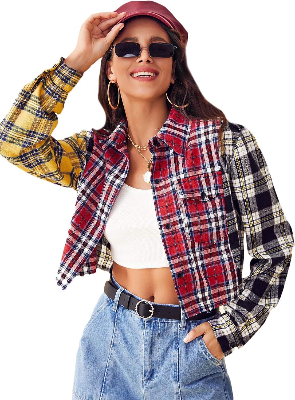 SweatyRocks Women's Cute Color Block Long Sleeve Crop Tops Plaid Button Down Blouse