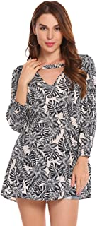 Zeagoo Women's Floral Printed V Neck Shirts 3/4 Sleeve Choker Tunic Top