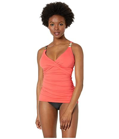 MICHAEL Michael Kors Over the Shoulder Twist Tankini Top with Chain Trim and Removable Soft Cups (Sea Coral) Women