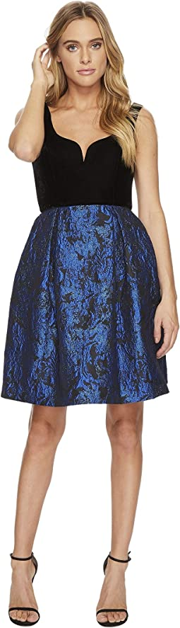 Donna Morgan - Sleeveless Fit and Flare with Velvet Top and Brocade Skirt