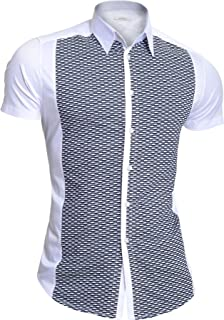 D&R Fashion Mondo Men's Summer Shirt Short Sleeve Stretchy Cotton Knitted Front Comfort Slim