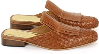 Anna Ricci Handwoven Fringe Leather Mules - Gold…