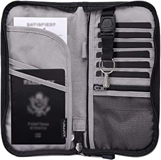 RFID Travel Passport Wallet & Documents Organizer Zipper Case with Removable Wristlet Strap