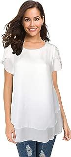 Afibi Women's Loose Casual Short Sleeve Chiffon Top T-Shirt Blouse