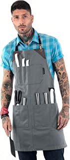 Under NY Sky Knife-Roll Steel Gray Apron – Heavy-Duty Canvas, Leather Reinforcement – Adjustable for Men and Women – Pro Chef, Barbecue, Butcher, Bartender, Woodworker, Tool Aprons