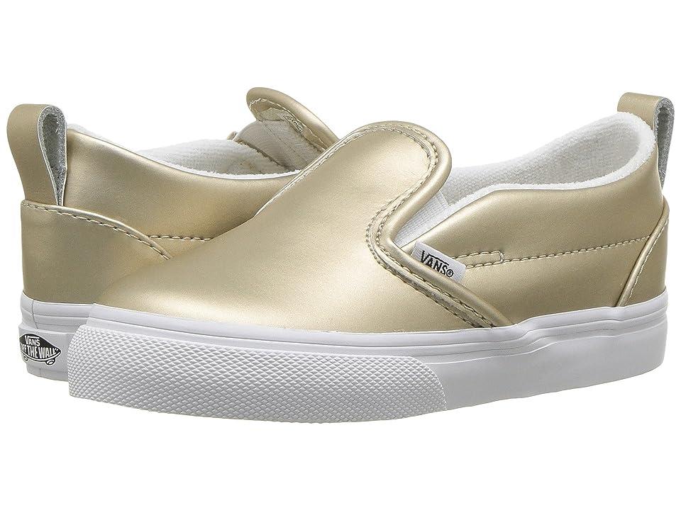 Vans Kids Slip-On V (Toddler) ((Muted Metallic) Gold/True White) Girls Shoes