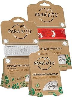 Parakito - PROTECTION ANTIMOUSTIQUE NATURELLE - KIT 2 x Para'kito BRACELET (Blanc et Rouge) + 1 x Recharge Para'kito Pour BRACELET - BR