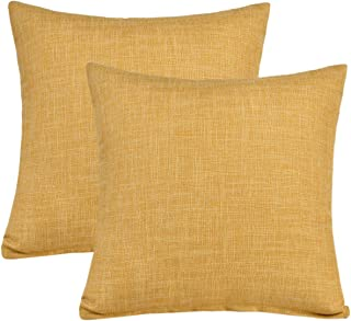 Kingria Linen Throw Pillow Cover Soft Decorative Cushion Cover for Sofa Couch Bed and Car Set of 2 (18x18inch Yellow)