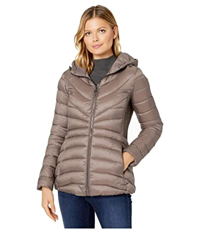 Bernardo Fashions EcoPlume Hooded Packable Puffer Jacket (Antique Silver) Women
