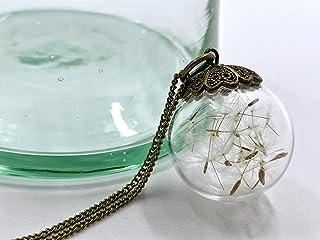 Collana dente di leone - Pendente in bicchiere - Petali dente di leone - 30 mm - Regalo di Natale - Regali per lei