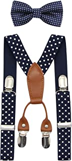 JAIFEI Toddler Kids 4 Clips Adjustable Suspenders and Matching Bow Tie Set (Dots-Navy)