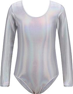 Girls Gymnastics Dance Leotard Long Sleeve Shiny Metallic Spandex Dance Ballet Suit