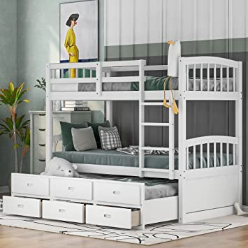 Amazon Com P Purlove Solid Wood Detachable Bunk Bed Twin Over Twin Bunk Bed With Trundle Storage Bed Frame With Three Storage Drawers With Safety Guard Rail Furniture Decor